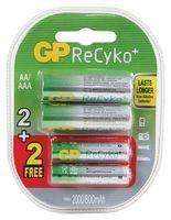 4 Piles rechargeables accus AA+AAA GP Recyko