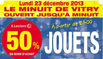 Le 23/12, de 21h à minuit : -50% offerts en bons d'achat sur les jouets