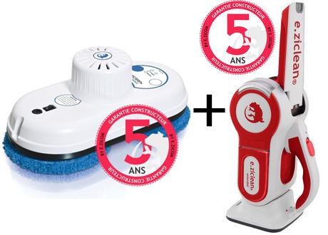 Nettoyeur robot de vitres E.Zicom e.ziclean Hobot + aspirateur à main e.ziclean Extender offert