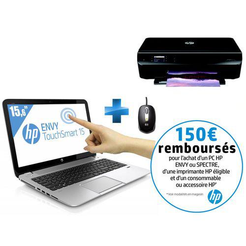 PC Portable HP Envy TouchSmart 15-J095EF (15,6'' Full HD tactile - Core i7) + Imprimante HP Envy 4502 + Souris (Avec ODR 150€)