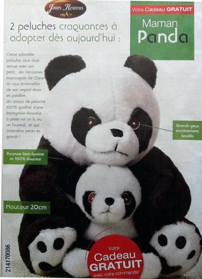 2 Peluches Panda offertes pour toute commande supérieure à 10€ + Port gratuit