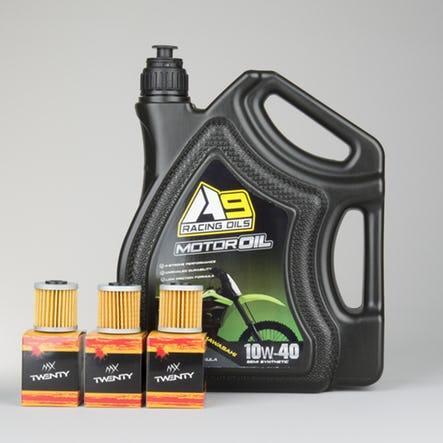 Pack vidange moteur moto :  4 litres d'huile moteur + 3 filtres