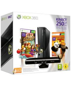 Console Xbox 360 250 Go + Kinect + Kinect Adventures ! + Kung Fu Panda 2 + Carte d'abonnement Gold (3 mois)