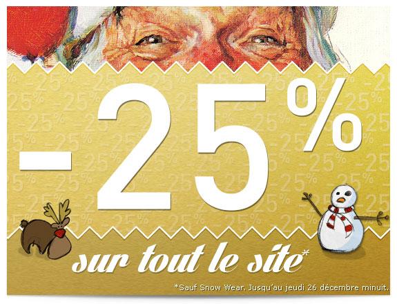 25% de réduction sur tout le site