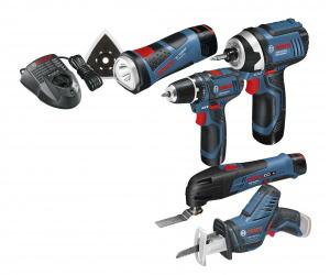 Pack 5 outils Bosch (Perceuse-visseuse, Découpeur-ponceuse, Visseuse à choc, Scie sabre, Lampe GLI)