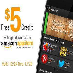 5$ de crédit offert sur l'Amazon App Store pour le téléchargement d'une application (même gratuite)