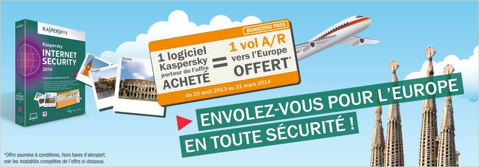 Pour un logiciel acheté, recevez en cadeau un vol A/R en Europe !