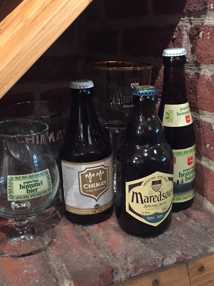 Lot de 3 bières et 3 verres - Chimay Tripe (33 cl) + Hommel (25 cl) + Maredsous Triple (33 cl)
