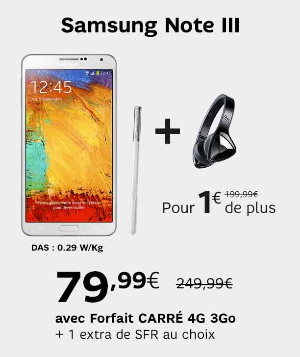 Samsung Galaxy Note 3 + Casque Monster DNA, (forfait sfr 4g pdt 24 mois)