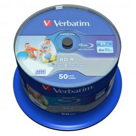 50 Blu-ray vierge Verbatim BD-R 25 Go / 135 min 6x, Full printable