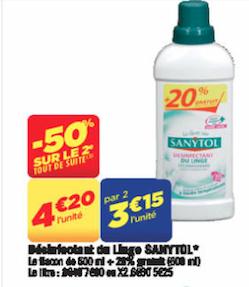 2 flacons désinfectant linge Sanytol de 500 ml + 20% gratuit (soit 600 ml)