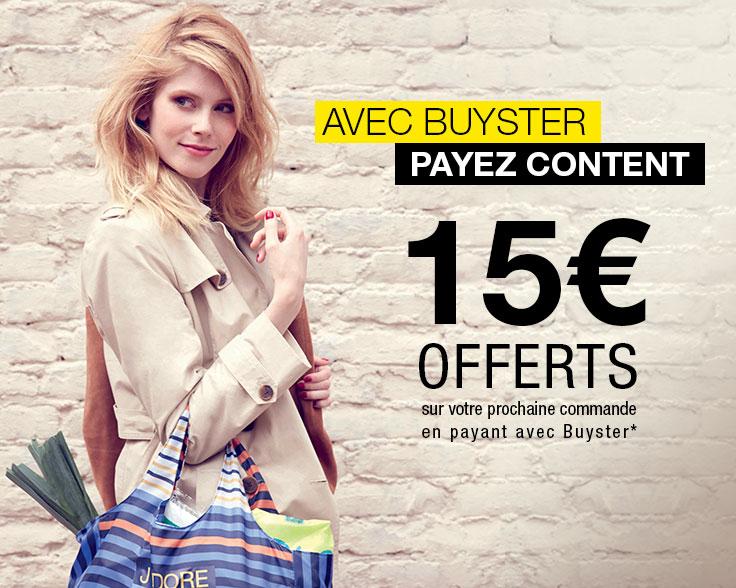 Bon d'achat de 15€ sur votre prochaine commande avec Buyster