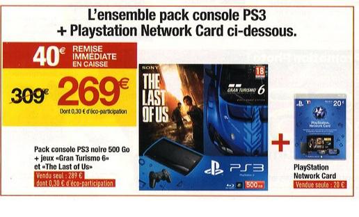 Console PS3 500 Go + GranTurismo6 + The Last Of Us + Carte PSN 20€