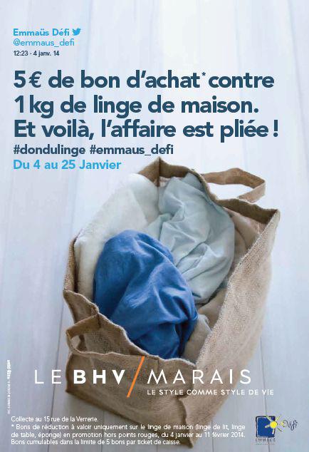 Don de linge avec Emmaüs Défi & BHV : Bon de réduction de 5€ offert (valable sur le linge) par kilo de linge donné