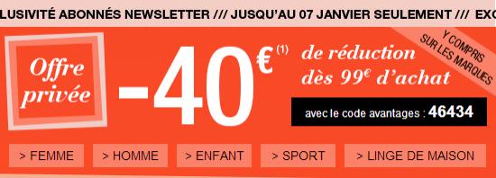 -40€ de réduction dès 99€ d'achats sur l'ensemble de la collection 3 Suisses (hors prix rouge...)