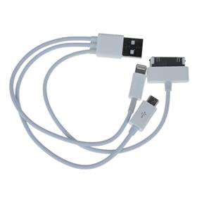Cable USB 3 en 1 pour iPhone / 8Pin / 30pin / Micro USB (Data Sync Charger)