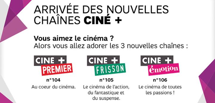 Les chaines Ciné+ offertes sur la box de SFR durant janvier