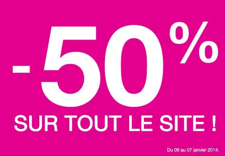 -50% sur tout le site du 06 au 7 janvier