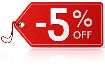 5% de réduction sur tout le site, y compris sur les soldes