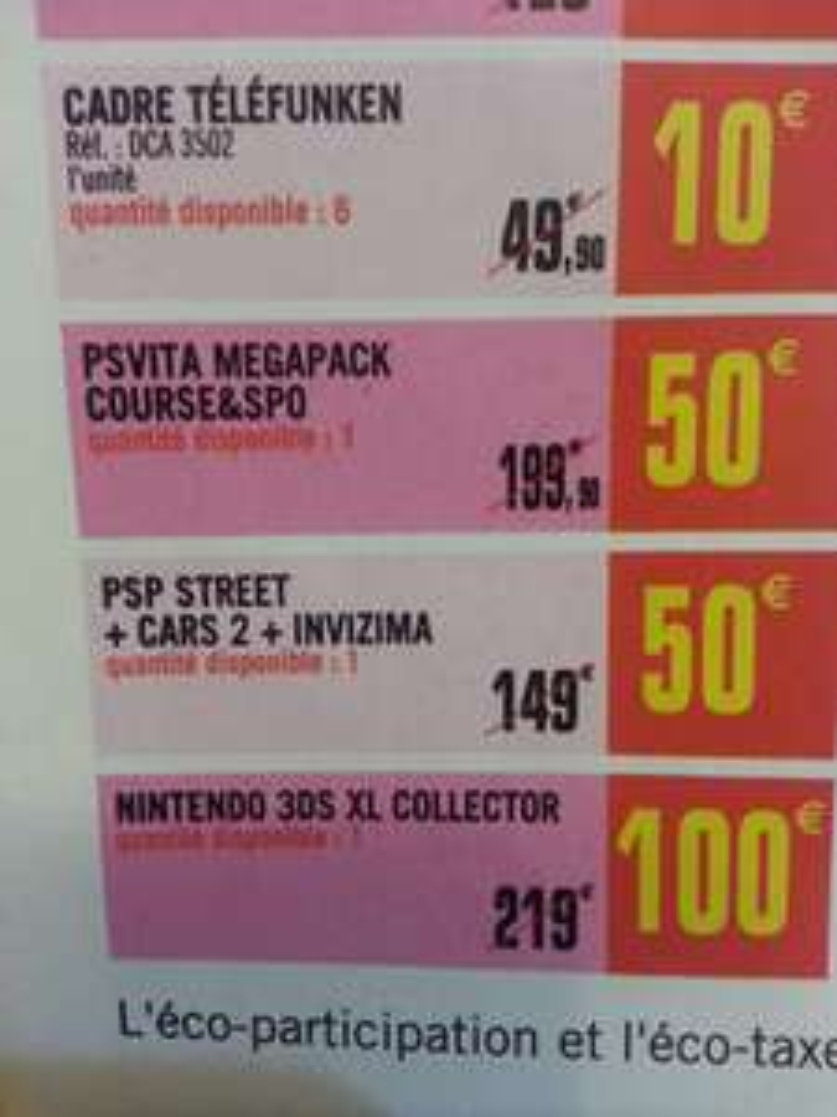 PS VITA Pack 50€/ Nintendo 3DSXL 100€