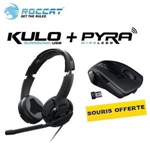 Pack gamer ROCCAT : micro-casque 7.1 USB + Souris Pyra wireless
