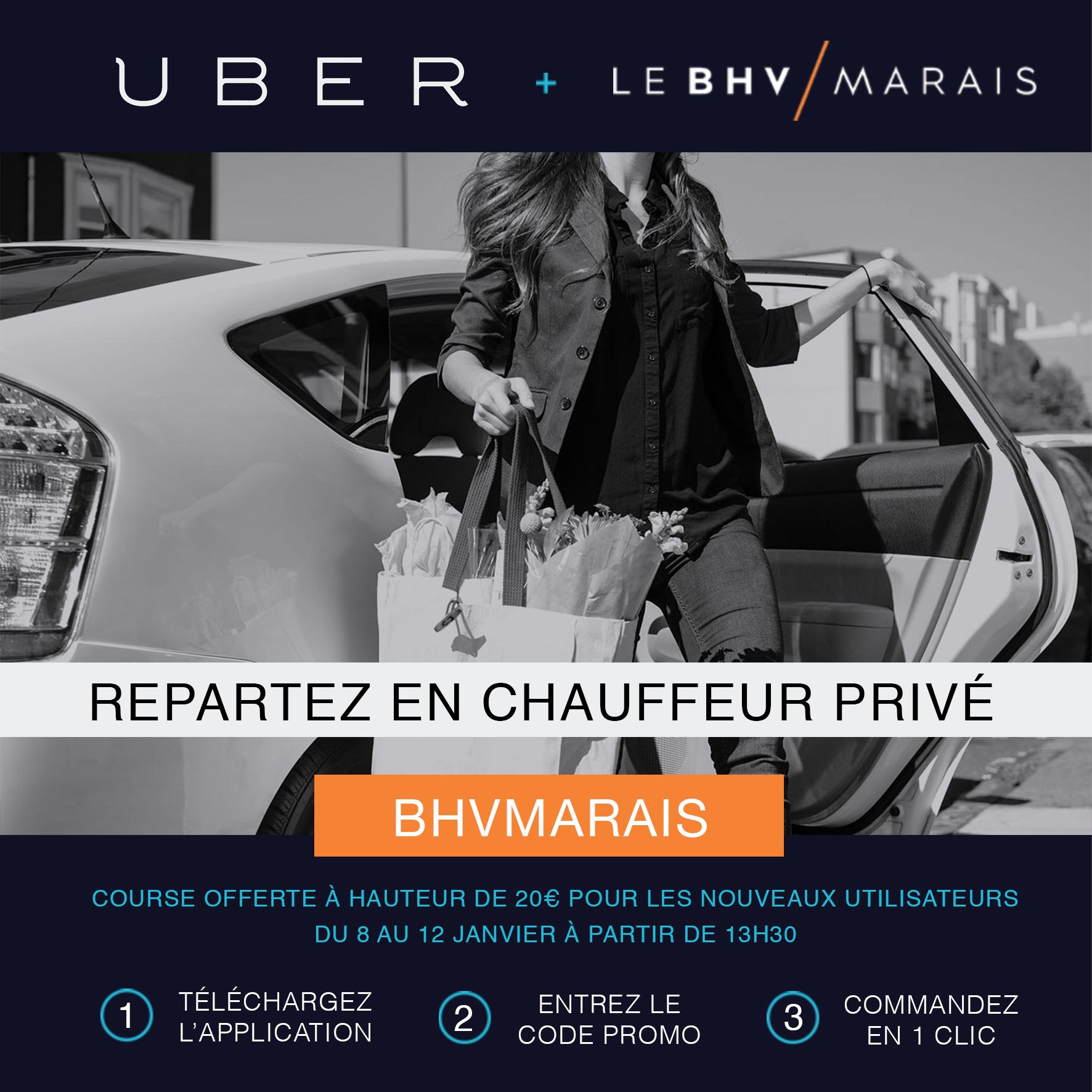 Course offerte avec Uber chauffeur privé à hauteur de 20€ après un achat