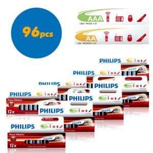 48 piles Philips Power Alkaline LR03  AAA + 48 Philips Power Alkaline LR6  AA