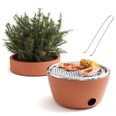 Pot de fleur / barbecue 2 en un