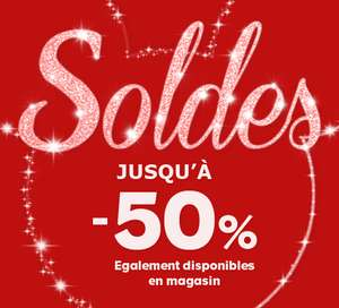 Soldes jusqu'à -50% + Bon d'achat de 10€ offert dès 60€ d'achats. Articles