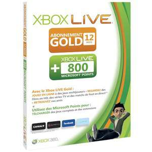 Abonnement XBOX Live 12 mois + 800 Microsoft Points