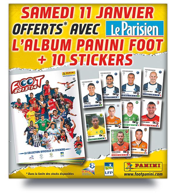 A partir de demain : Journal Le Parisien + Album Panini Foot 2013/2014 + 2 paquets d'images (10 images)