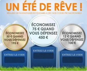 Economisez 10, 30 ou 75€ pour un minimum d'achat de 100€