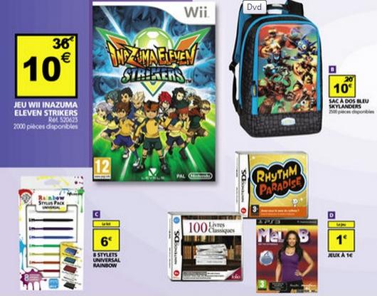 Sélection de jeux DS, Wii, PS3 à partir de 1 euro (Inazuma eleven strikers Wii à 10 euros)