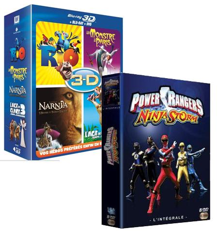 Coffret 4 Blu-ray 3D - Rio, Un Monstre à Paris, L'Âge de Glace 3, Le Monde de Narnia 3 + Coffret Intégrale Power Rangers 8 DVD
