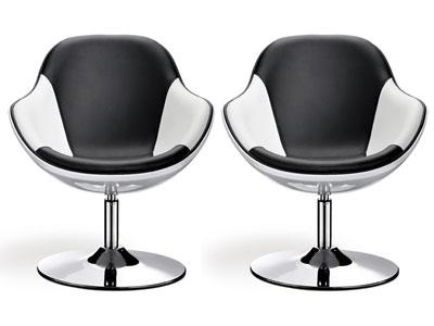 2 fauteuils Mario coque - Blanc et noir