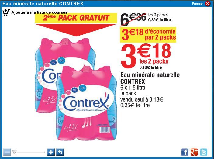1 acheté=1gratuit soit 2 packs de Contrex 6 x1.5L
