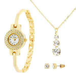 Parure Celsior ornée de Swarovski (Un collier + Une paire de boucles d'oreilles + Une montre)