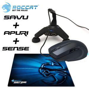 Pack Roccat Souris Savu + passe cable Apuri + tapis de souris Sense Chrome Blue