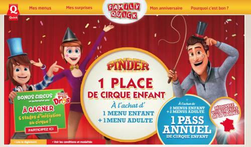 Pour l'achat de 2 menus enfant + 2 menus adulte = 1 pass Annuel de cirque Pinder enfant offert