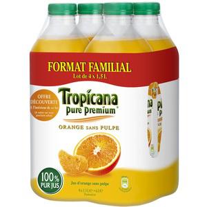 Pack de 4 bouteilles 1.5L Tropicana Pure Premium - Différents jus (50% sur carte fidélité)