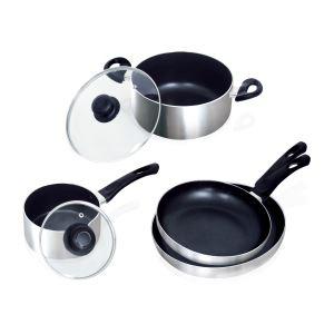 Set 6 pièces Art & Cuisine - 2 poêles 24/28 cm, 1 casserole 16 cm, 1 faitout 24 cm, 2 couvercles 16/24 cm