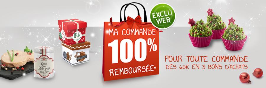 Commande 100% remboursée dès 60€ d'achats, en 3 bons d'achats (avec minimums)