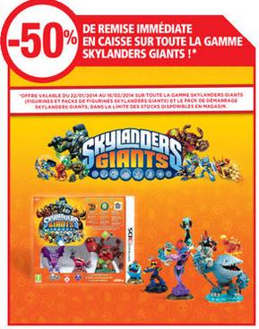-50% sur toute la gamme Skylanders Giants (Figurines à l'unité, Pack de figurines, Pack de démarrage)