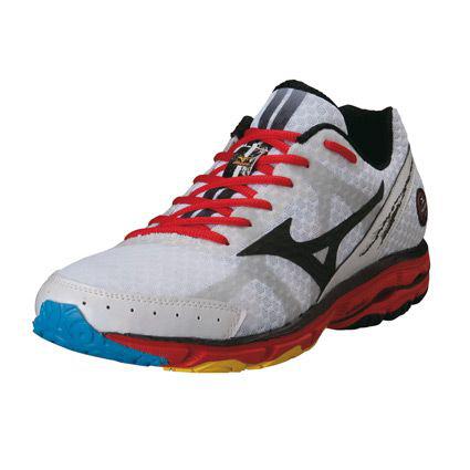 Chaussures de course à pied Mizuno Wave Rider 17 (Taille 44) Blanc/Noir/Rouge + 1 article à 1€