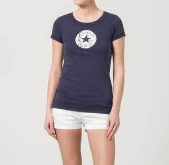 T-shirt imprimé Converse CT PATCH Bleu ou Vert