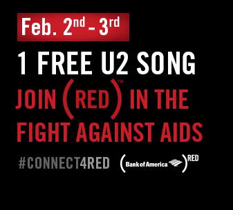 """A partir du 2 février : Le titre """"invisible"""" de U2 téléchargé gratuitement = 1$ contre le SIDA"""