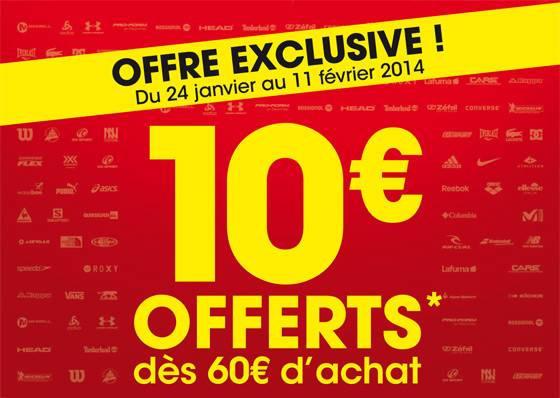 Réduction de 10€ dès 60€ d'achat, en ligne et en magasin (valable sur les soldes !)