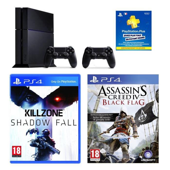 Console PS4 500Go + Killzone + Assasin's IV + 2 manettes + abonnement playstation plus