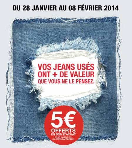 2 jeans rapportés = Bon d'achat de 5€ sur le textile, valable dès 20€ d'achats