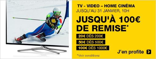 Jusqu'à 100€ de réduction sur l'univers TV vidéo - Home cinéma
